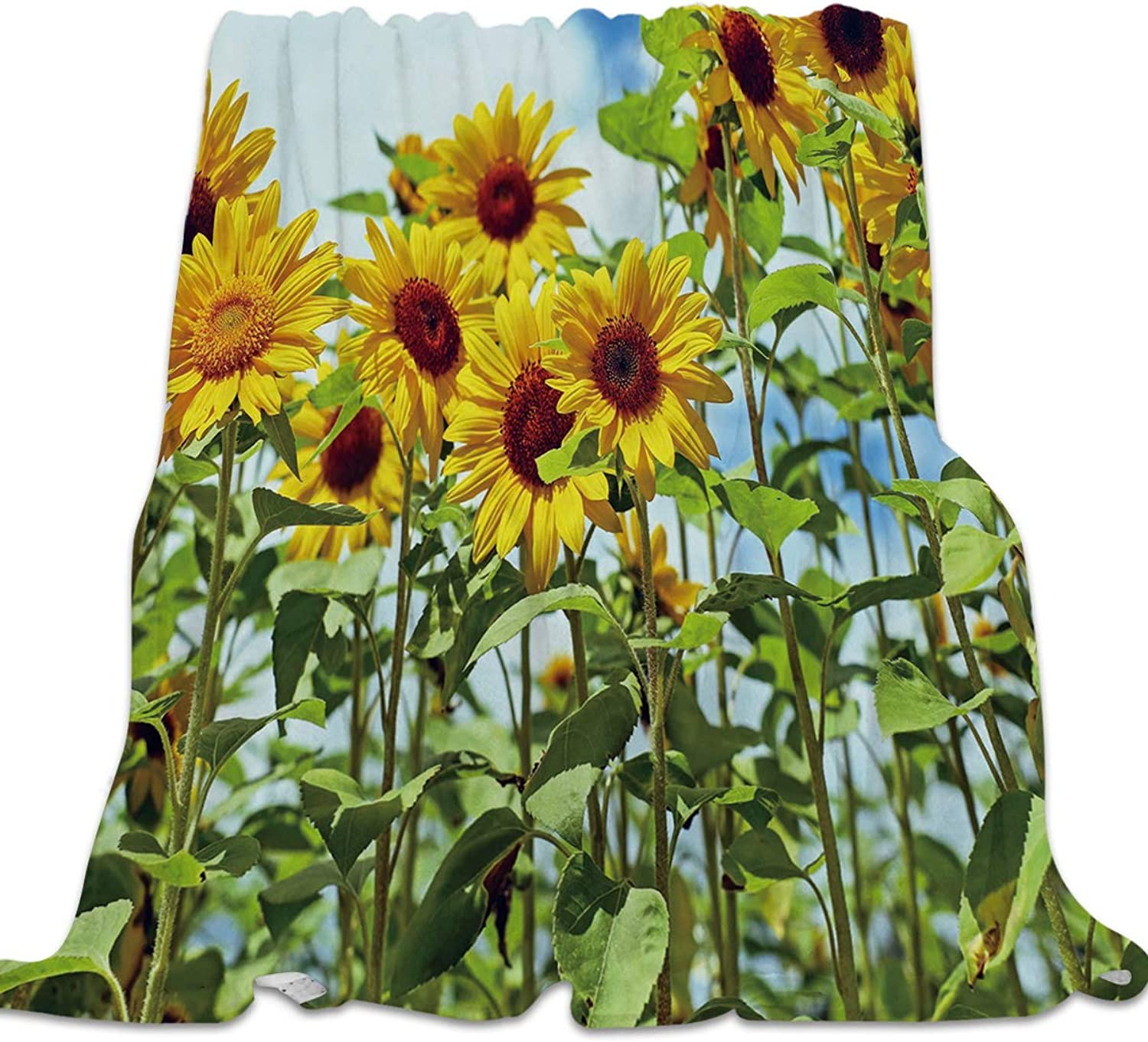 39x49 Inch Flannel Fleece Bed Blanket Soft Throw-Blankets for Girls Boys,3D colorful Flowers Sunflower Pattern,Lightweight Warm Kids Blankets for Bedroom Living Room Sofa Couch Home Decor
