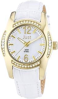 Just Watches - Reloj de Cuarzo para Mujer, Correa de Cuero Color Blanco