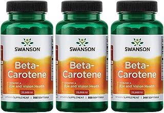 Swanson Beta-Carotene Vitamin A 25000 IU Skin Eye Immune System Health Antioxidant Support 7500 mcg 300 Softgels Count (3 ...