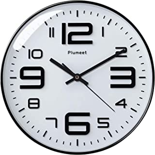"""Plumeet Large Wall Clock, 12"""" Silent Non-Ticking Quartz Decorative Clocks, Big 3D Number Good for Living Room Home Office Battery Operated (White)"""