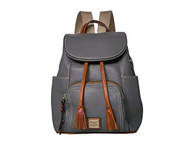 Dooney & Bourke Pebble Medium Murphy Backpack (Slate/Tan Trim) Backpack Bags