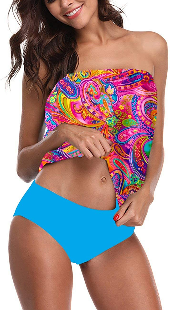 Chenghe Women's Bandeau Blouson Tankini Top High Waisted Moderate Bottom Two Piece Swimsuits Bathing Suits
