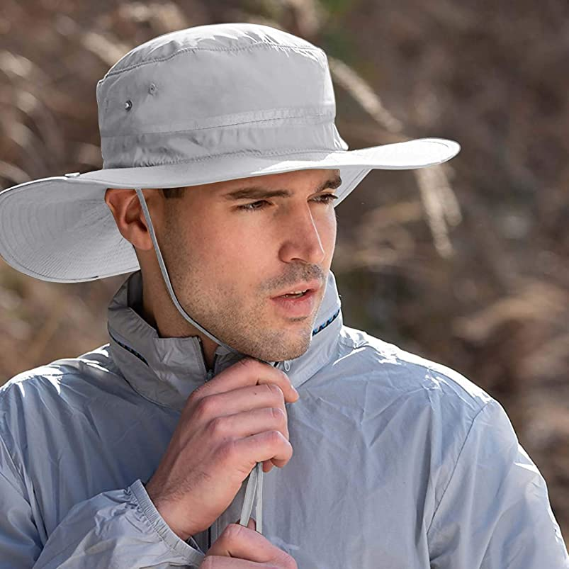 Sun Hat for Men/Women, Outdoor UPF 50+ Fishing Hat Summer Sun Caps Wide Brim Bucket Hat Waterproof Breathable Packable Boonie Hat for Hiking Camping Tourism Gardening Beach Golf srsfvxms347486