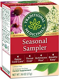 Traditional Medicinals Seasonal Tea Sampler Variety Pack, 16 Tea Bags