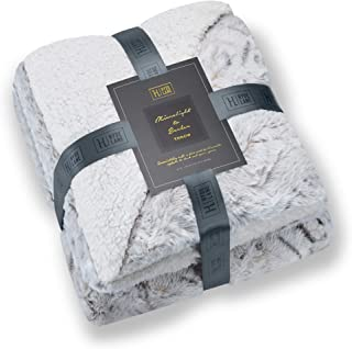 Hyde Lane Super Soft Cozy Blanket for Couch & Bed – 2 Way Reversible Texture Fluffy Warm Sherpa Throw Polar Fleece Blanket with Plush Minky Faux Fur – Gray Snow Leopard 50x60
