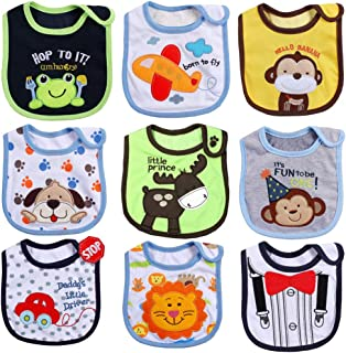 ElecMotive 9 Piece Waterproof Baby Toddler Bib Cotton 0-24 Months