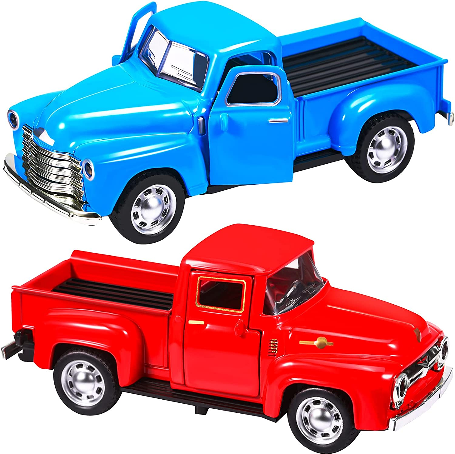 2 Pieces Vintage Red Truck Christmas Decorations, Decorative Red Metal Truck Car Model Pick-Up Metal Truck Planter Farmhouse Centerpiece Table Decorations for Christmas Decoration Table Decoration