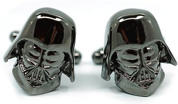 Teri's Boutique Men's Jewelry Star Wars Darth Vader Head Dark Gray Gunmetal Cufflinks Pair w/ Gift Box