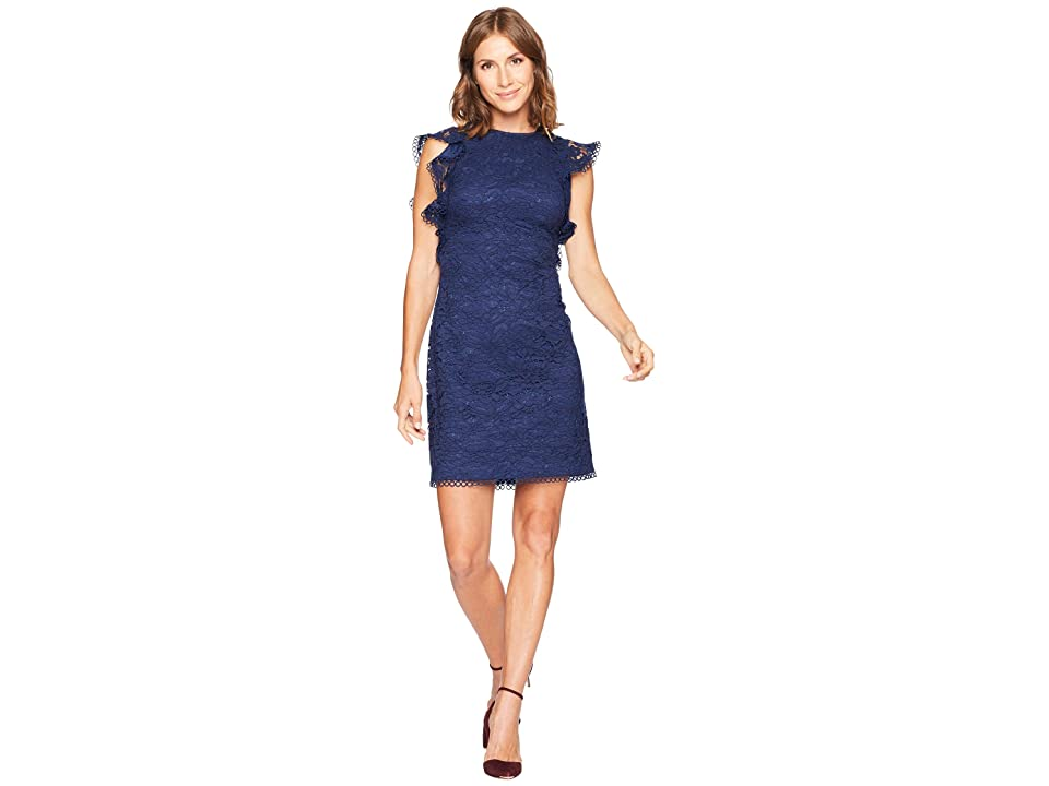 Vince Camuto Lace Ruffle Sleeve Bodycon Dress (Navy) Women
