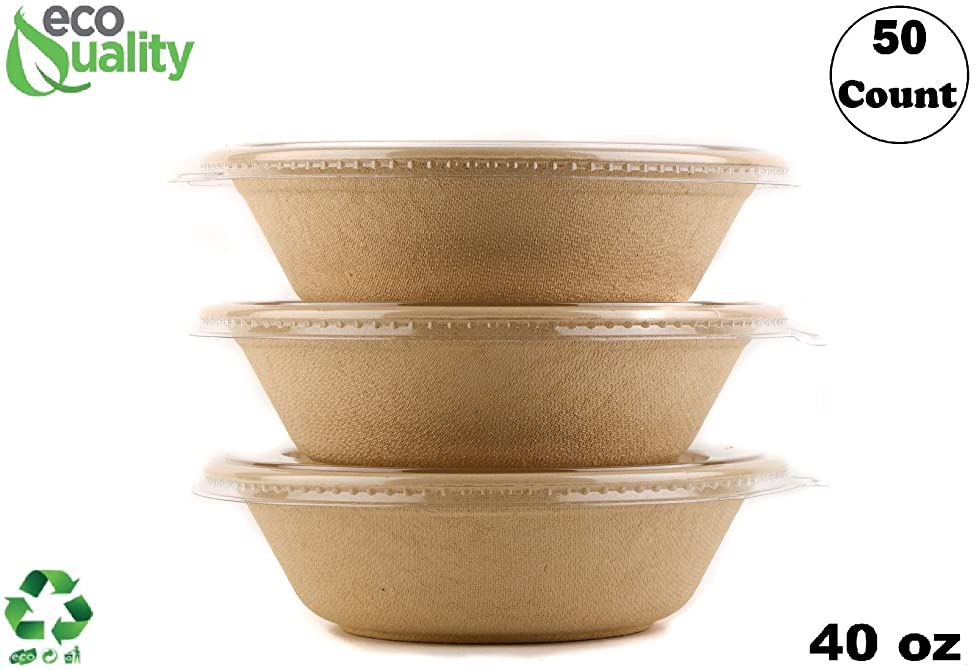 50 Count - EcoQuality 40oz Round Disposable Bowls with Lids Natural Sugarcane Bagasse Bamboo Fibers Sturdy Compostable Eco Friendly Environmental Paper Plastic Bowl Alternative Tree Free