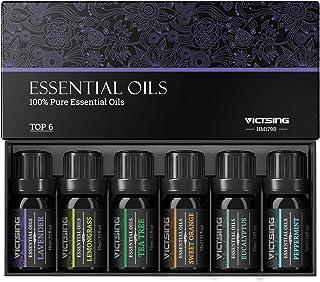 VicTsing Ätherische Öle Set 6x10ml, Essential Oil für Aromatherapie, Duftöl für Aroma Diffuser, 100% Rein Öle, Lavendel, Pfefferminz, Teebaum, Zitronengras, Eukalyptus, süße Orange-Braun