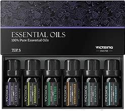 Ätherische Öle Set (6x10ml), VicTsing Essential Oil für Aromatherapie, Duftöl für Aroma Diffuser, 100% Rein Öle, Lavendel, Pfefferminz, Teebaum, Zitronengras, Eukalyptus, süße Orange-Braun