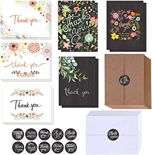 $21 » 150 Sets Bulk Blank Thank You Cards with Envelopes Stickers Assortment 6 Design of Floral Watercolor Calligraphy Thank You...