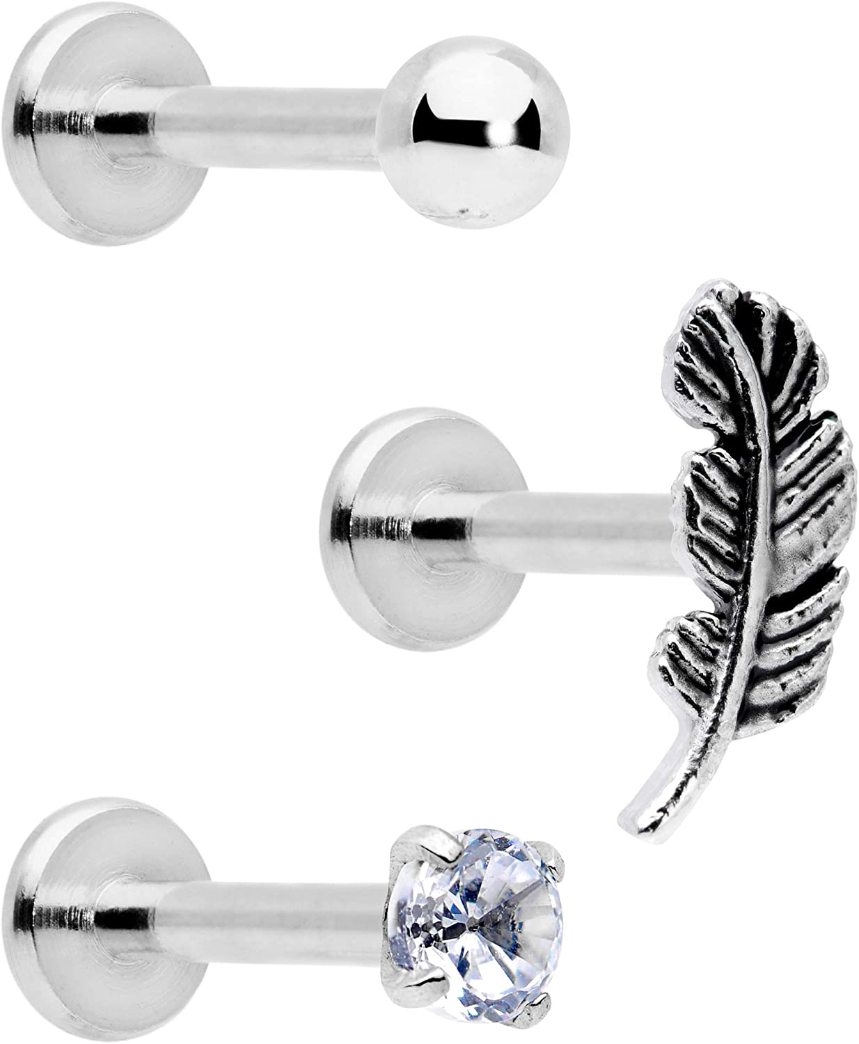Body Candy 3Pc 16G 316L Steel Clear Accent Feather Internally Threaded Labret Monroe Lip Ring Tragus Set 8mm