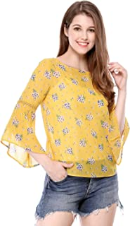Women's 3/4 Bell Sleeve Floral Print Chiffon Blouse W Cami