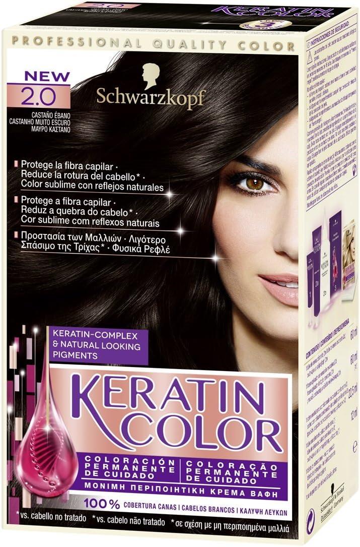 Keratin Color - Coloración permanente para el cabello, Tono 2, 1 unidad