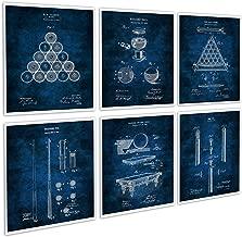 Gnosis Picture Archive Billiard Decor Set of 6 Blue Art Prints of Billiard Pool Table Billiard Balls Billiard Cue Invention Blueprints Patents_Billiard_Blue6A