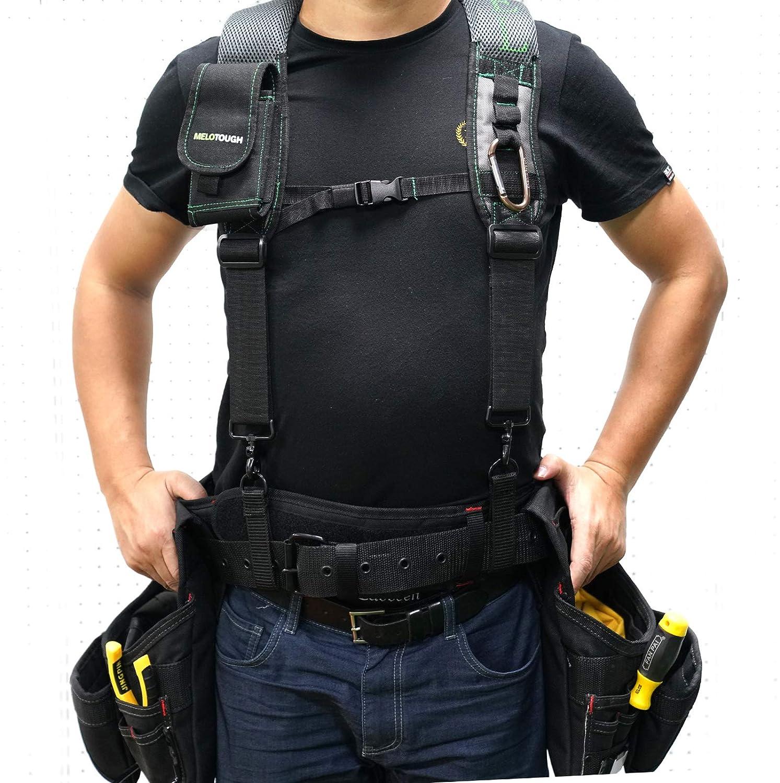 Heavy Duty Clip End Tool Belt Suspenders Melo Tough Gel Construction Work Suspender Tool Belt Suspenders with Gel shoulder pad Detachable Phone Holder