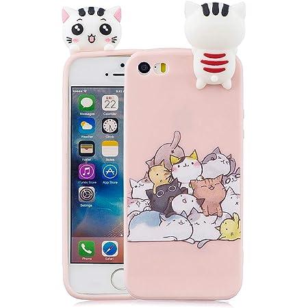 Keteen Cover iPhone 5/5s Silicone Custodia iPhone SE 3D Gatto TPU Candy Color Flessibile Bumper per Apple iPhone 5/5s/SE Anti Graffio Ultra Sottile ...