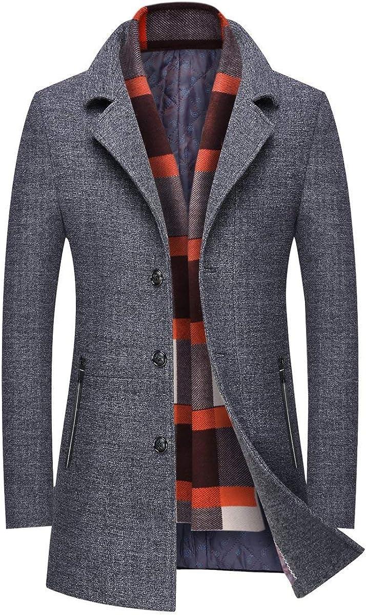 INVACHI Men's Slim Fit Winter Warm Short/Long Woolen Coat Business Jacket with Free Detachable Soft Touch Wool Scarf