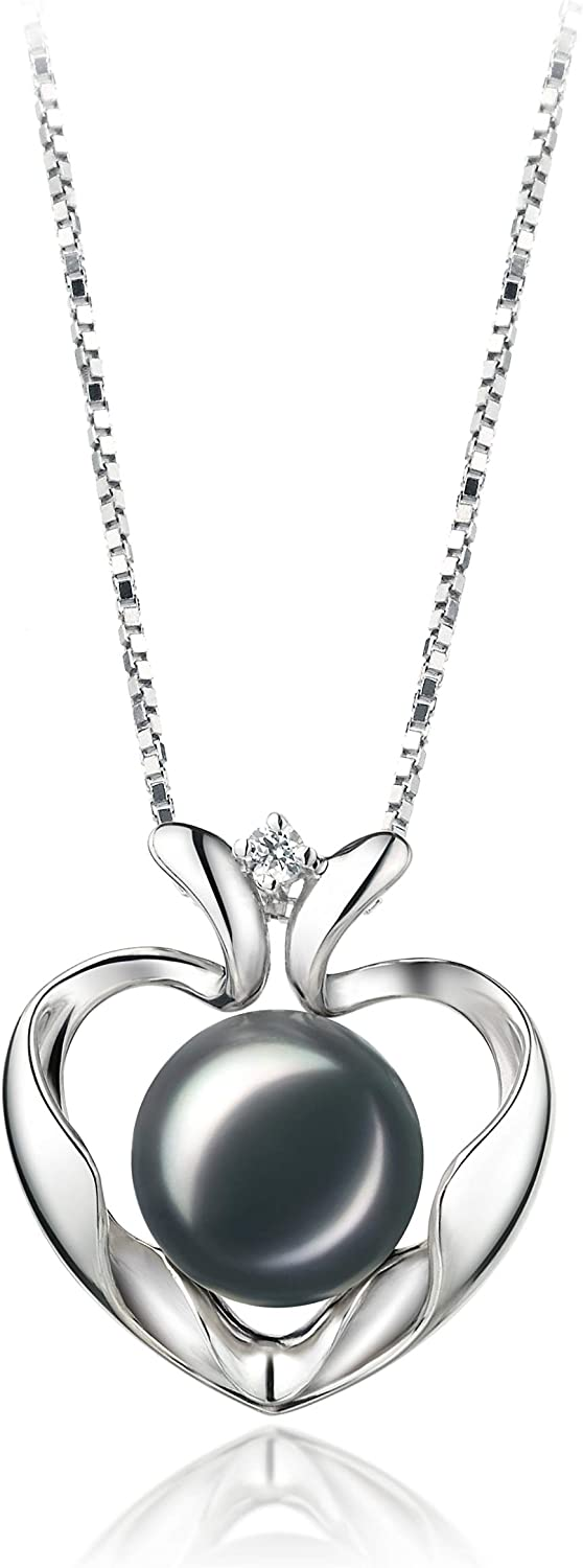 Marlina store Heart 9-10mm AA Quality Silver Sterling High order 925 C Freshwater