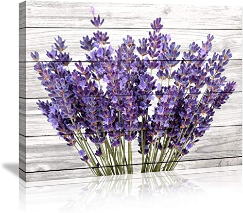 Modern Artwork Purple Lavender Wall Decor Canvas Wall Art Retro Paintings Style Purple Lavender Flowers Picture on Wh...
