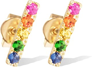 14K Gold and Precious Gems Multicolor Rainbow Fashion Earrings for Women