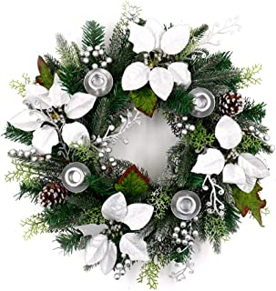 ALEKO CHDW20WH Decorative Holiday Christmas Advent Wreath with 4 Candle Holders Green and Silver
