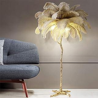 WECDS Lampadaire en Plumes d'autruche Résine écologique Lampe sur Pied d'art Nordique 1,2 m / 1,7 m Villa Hotel Decor High...
