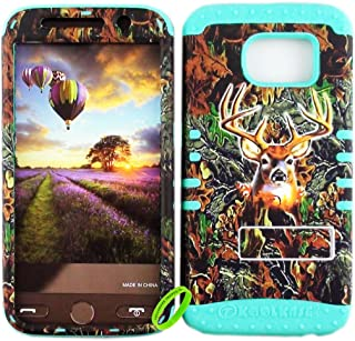 Cellphone Trendz Dual Layer Soft Hard Hybrid High Impact Protective Case Cover for Samsung Galaxy S6 G920 - Camo Real Hunter Series Mossy Deer Design Hard Case on Mint Blue Skin
