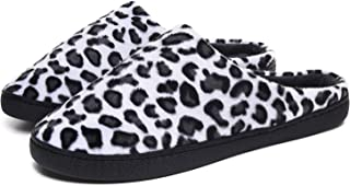 ChayChax Mens Womens Leopard Slippers Micro Velour Casual Comfort House Slippers with Indoor Outdoor Anti-Slip Sole