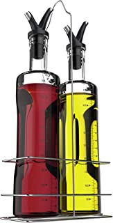 Vremi 17 oz Olive Oil and Vinegar Dispenser Set - Clear Glass Cruet Bottles for Cooking with No Drip Double Pourer Spout Stoppers and Stainless Steel Holder Stand - Kitchen Dispensing Cruets - Black