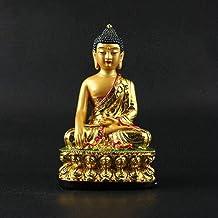 Sculpture,Tibetan Buddhism Hand Painting Resin Gilt Statue Shakyamuni Buddha Statue