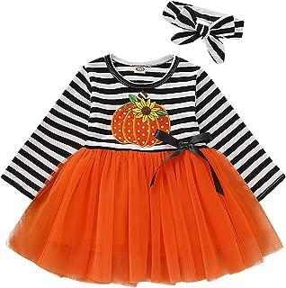 Baby Girl Thanksgiving Halloween Outfits Toddler Girl Pumpkin Tutu Dress Striped Skirts with Headband Playwear Clothes Set