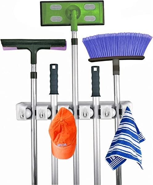 Home It Mop And Broom Holder 5 Position With 6 Hooks Garage Storage Holds Up To 11 Tools Storage Solutions For Broom Holders Garage Storage Systems Broom Organizer For Garage Shelving Ideas
