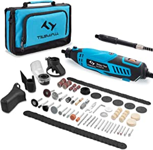 Tilswall Rotary Tool Kit 160W with 6-Level Variable Speed 145pcs Accessories Electric Drill Set for Crafting Projects and DIY Creations