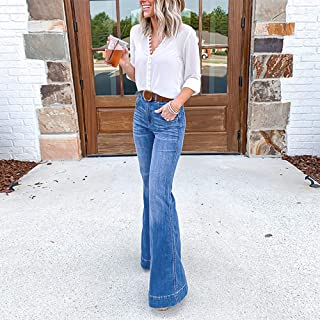 XIAOJIANBAO Jeans flared pants stretch women high waist wide leg denim jeans stretch slim pants length jeans denim buckle ...