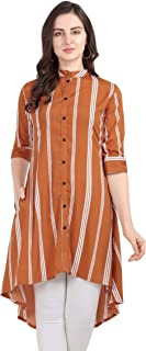Serein Women's Crepe Striped Up-Down Front Button Mandarin Collar with 3/4 Fold-up Sleeve and Side Pocket Regular Fit Tuni...