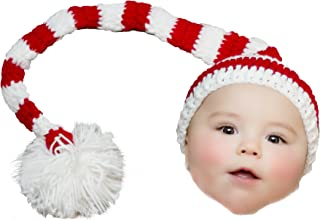 Elf Hat for Baby Christmas Holiday Striped Red White with Pom Pom Boys Girls Crochet Newborn 0-3 Month Size