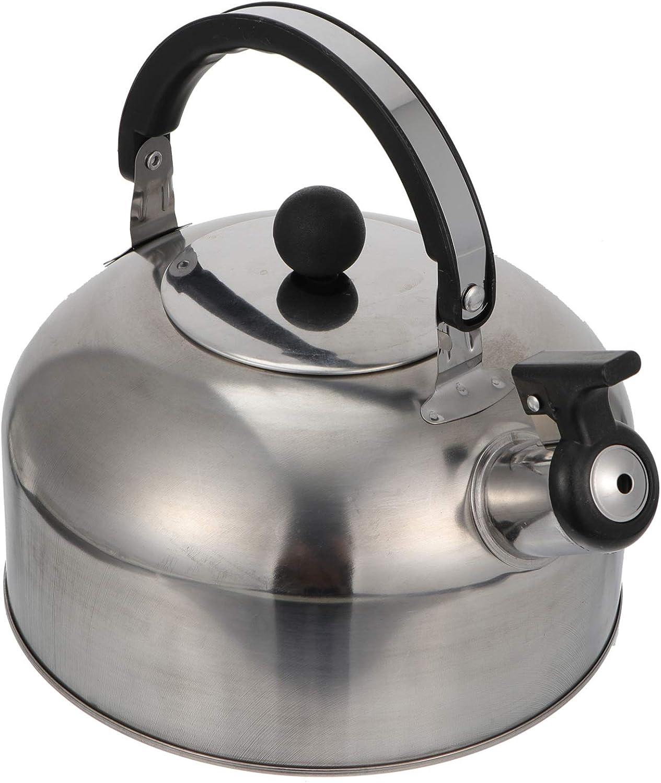 Yardwe Tetera silbadora de acero inoxidable con tapa para estufa, tetera, cafetera, hervidor de agua, silbido, hervidor de inducción con mango anticaliente, 2,5 l