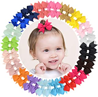 "ALinmo 40pcs Baby Girls Clips 2"" Grosgrain Boutique Solid Color Ribbon Mini Hair Bows Clips for Baby Girls Teens Infants Kids Toddlers Children Set of 20 pairs"