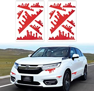 TOMALL 2 Sheets (14pcs) Red Blood Stickers for Car Funny Halloween Theme Bleeding Decals for Car Self-Adhesive Stickers fo...