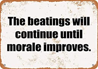 Mariner The Beatings Will Continue Until Morale Improves Aluminum Funny Aluminum Funny Art Decor Movie Poster Vintage Tin Sign Dorm Game Room 12 X 8 in
