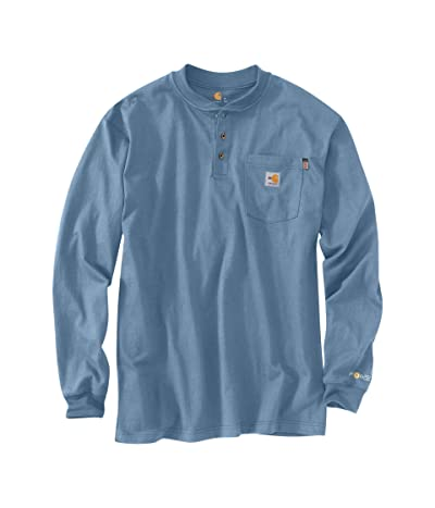 Carhartt Big Tall Flame-Resistant Force(r) Cotton Long Sleeve T-Shirt (Medium Blue) Men