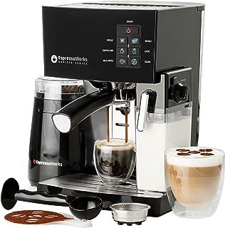 10 Pc All-In-One Barista Bundle Espresso Machine & Cappuccino Maker, 19 BAR Pump Set w/ Built in Milk Steam & Frother (Incl: Electric Coffee Bean Grinder, 2 Cappuccino & 2 Espresso Cups, Spoon/Tamper, Portafilter w/ Single & Double Shot Filter Baskets, 16