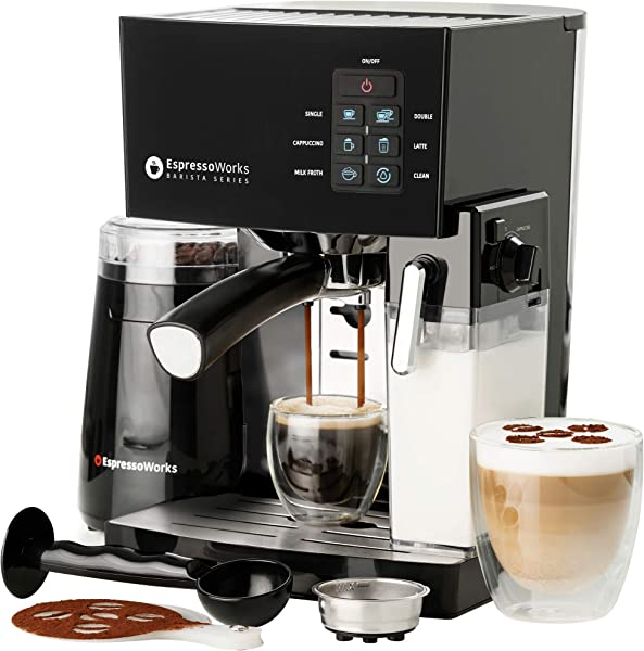 10 Pc All In One Barista Bundle Espresso Machine Cappuccino Maker 19 BAR Pump Set W Built In Milk Steam Frother Incl Electric Coffee Bean Grinder 2 Cappuccino 2 Espresso Cups Spoon Tamper Portafilter W Single Double Shot Filter Baskets 16 Art Stencil Templates Black Silver Stainless Steel