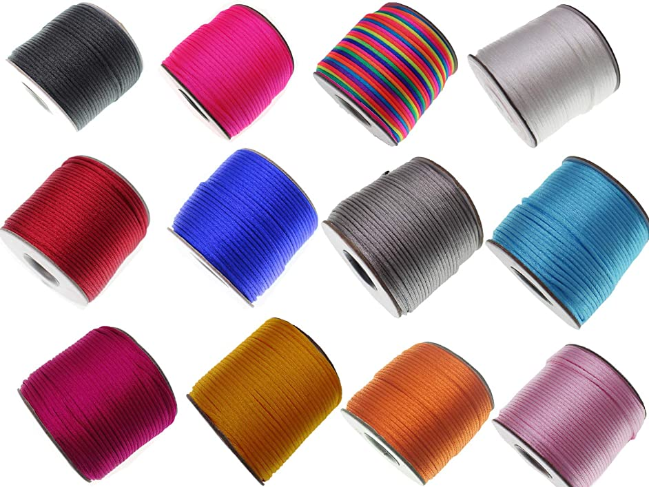 Wholesale 12 Rolls 2.0mm Satin/Rattail Silk Cord for Necklace Bracelet Beading Braiding Cord (Color 03)