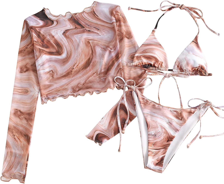 Verdusa Women's 3 Piece Self Tie Halter Triangle Swimsuit Bikini Set with Cover Up Top