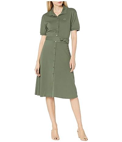 Lacoste Short Sleeve Button Through Belt Pique Dress (Aucuba) Women