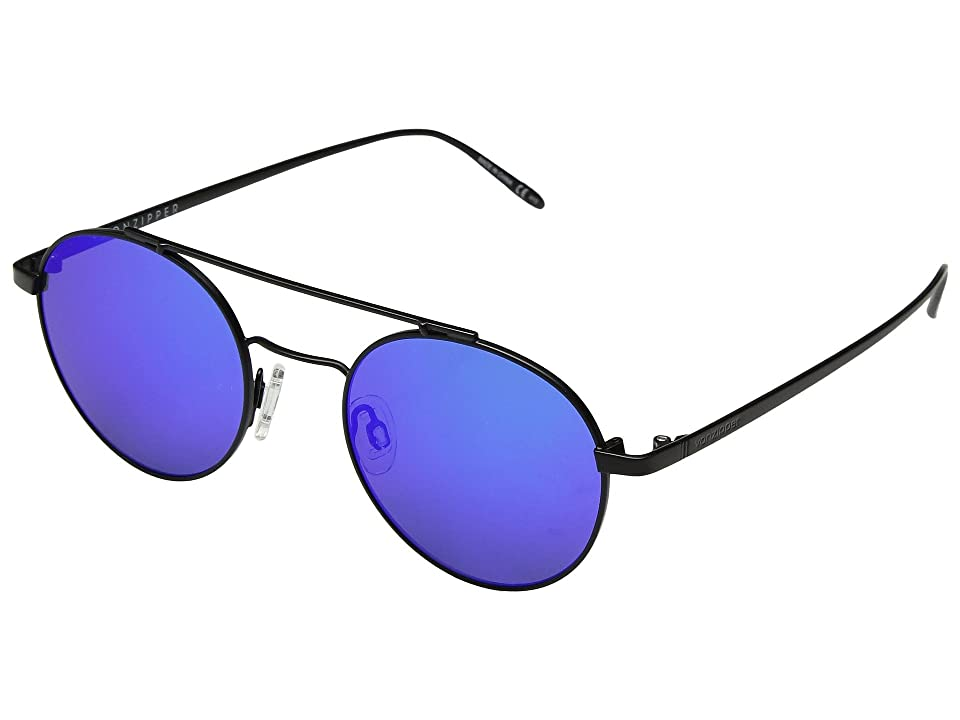 VonZipper Skiffle (Black Satin/Blue Chrome) Athletic Performance Sport Sunglasses